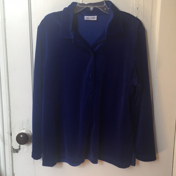 Blue velvet button up blouse